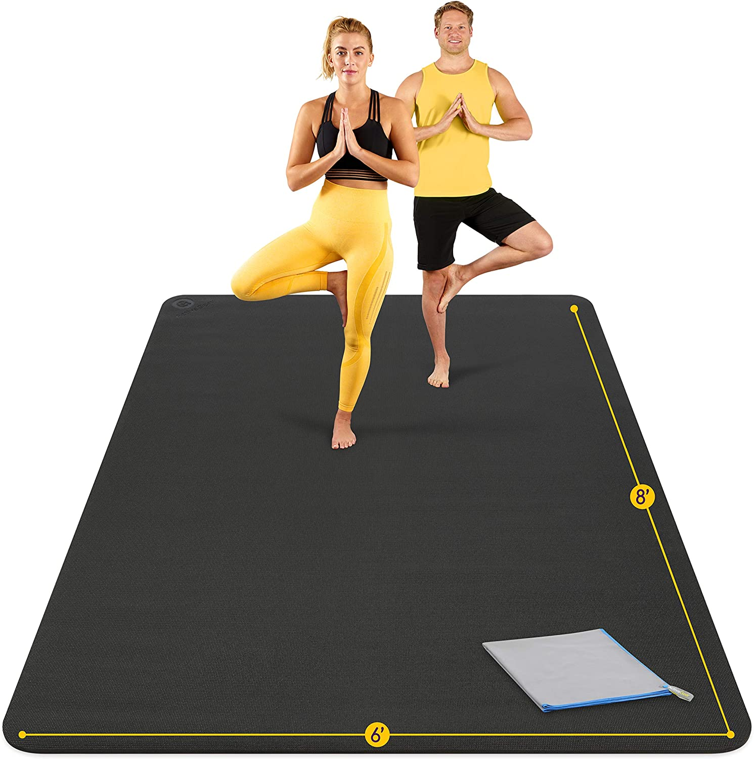Large Yoga Mat 8'x6'x8mm Extra Thick, Durable, Eco-Friendly, Non-Slip & Odorless Barefoot Exercise and Premium Fitness Home Gym Flooring Mat by ActiveGear