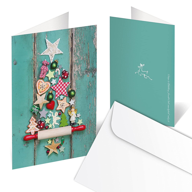 10 Stück Weihnachtskarten GRÜN bunter WEIHNACHTS-BAUM rot natur ...