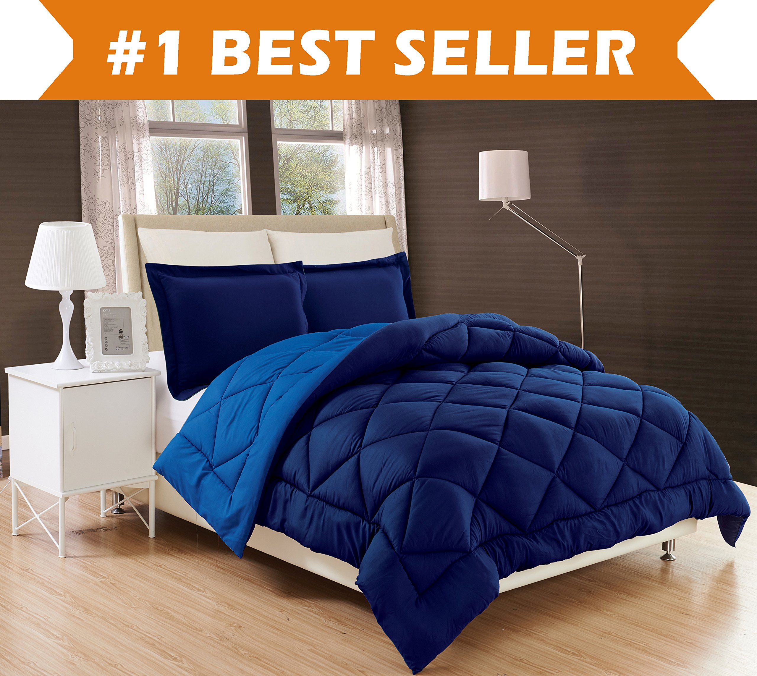 Elegant Comfort All Season Comforter and Year Round Medium Weight Super Soft Down Alternative Reversible 3-Piece Comforter Set, Full/Queen, Navy Blue/Light Blue