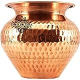 Indian Art Villa Hammered Copper Lota/Kalash/Pot, for Poojan Purpose, Drinkware, 700 ml (Brown)