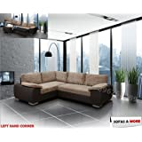 BRAND NEW - ENZO - CORNER SOFA BED WITH STORAGE - JUMBO CORD FABRIC LEATHER - LEFT HAND SIDE ORIENTATION (BROWN) by SOFASANDMORE