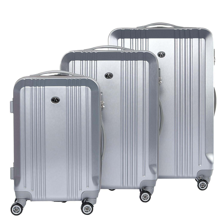 FERGÉ® Set 3 valises Voyage Rigide léger Cannes Ensemble de Bagages Trois pc Trolley 4 Roues roulettes Doubles 360 degrés Bagage Cabine Argent