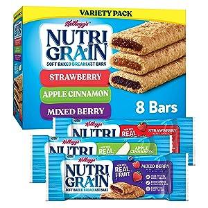 Kellogg's Nutri-Grain, Soft Baked Breakfast Bars, Variety Pack, 10.4 oz (8 Count)