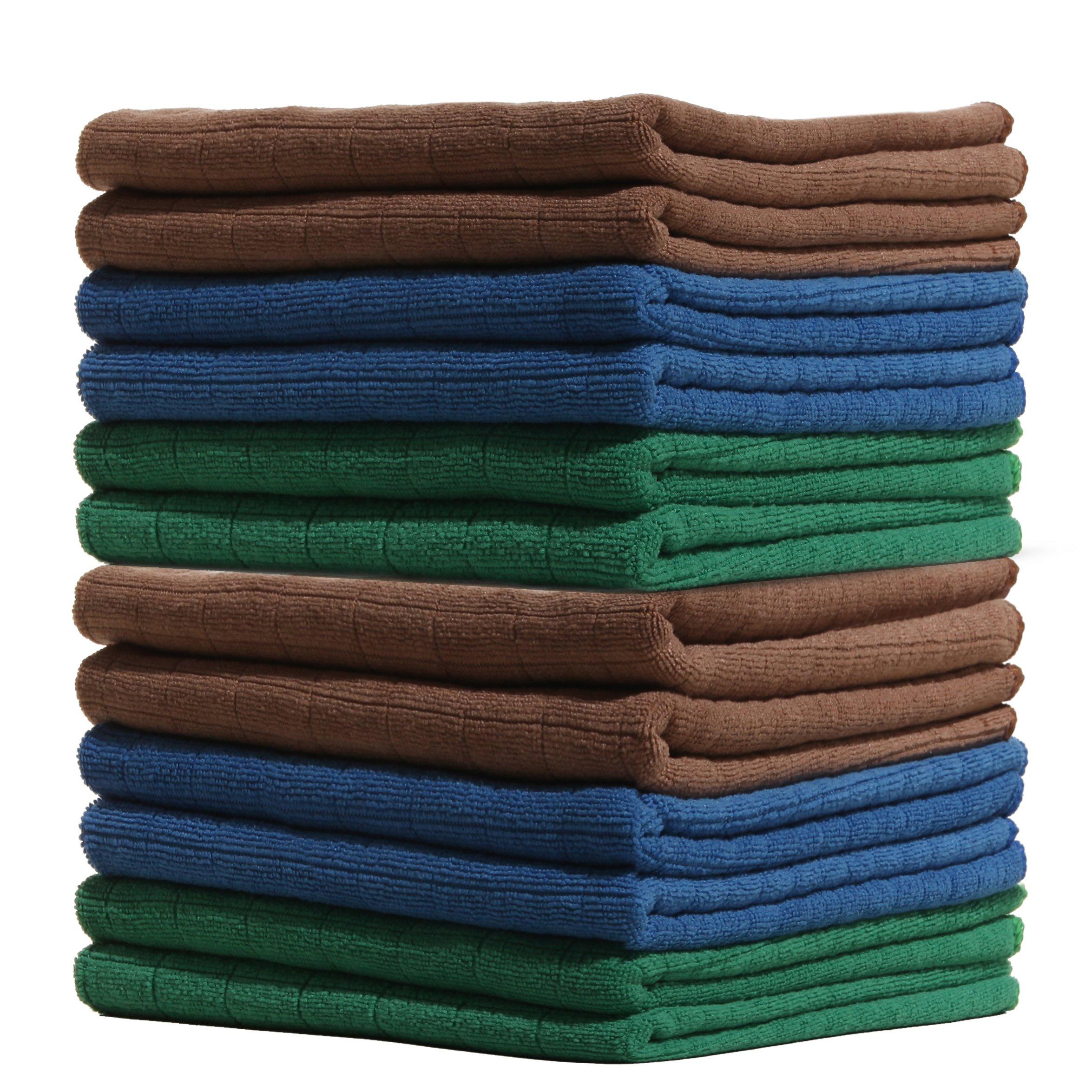 LUCKISS Windowpane Microfiber Kitchen Towels 12 Pack Super Soft Ultra Absorbent Quick Drying Dish Tea Towels Lint Streak Free Kitchen Bar Mop Cleaning Dust Cloths 15 x 25 Inch
