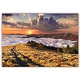 XXL Poster 100 x 70cm (S-809) Gebirgsweg ins nebelbdeckte Tal über Herbstwiese Sonnenuntergang (Lieferung gerollt!)