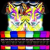 neon nights 8 x Pintura para Tejidos UV Luz Negra Pintura Textiles Lavable Tinte Ropa Camiseta Colores Neón Colorido