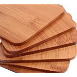 Drink Coasters - Stylish Bamboo Coaster Set, 6 Piece Coasters for Drinks, Coffee & Tea by Ergo Kitchen Accessories