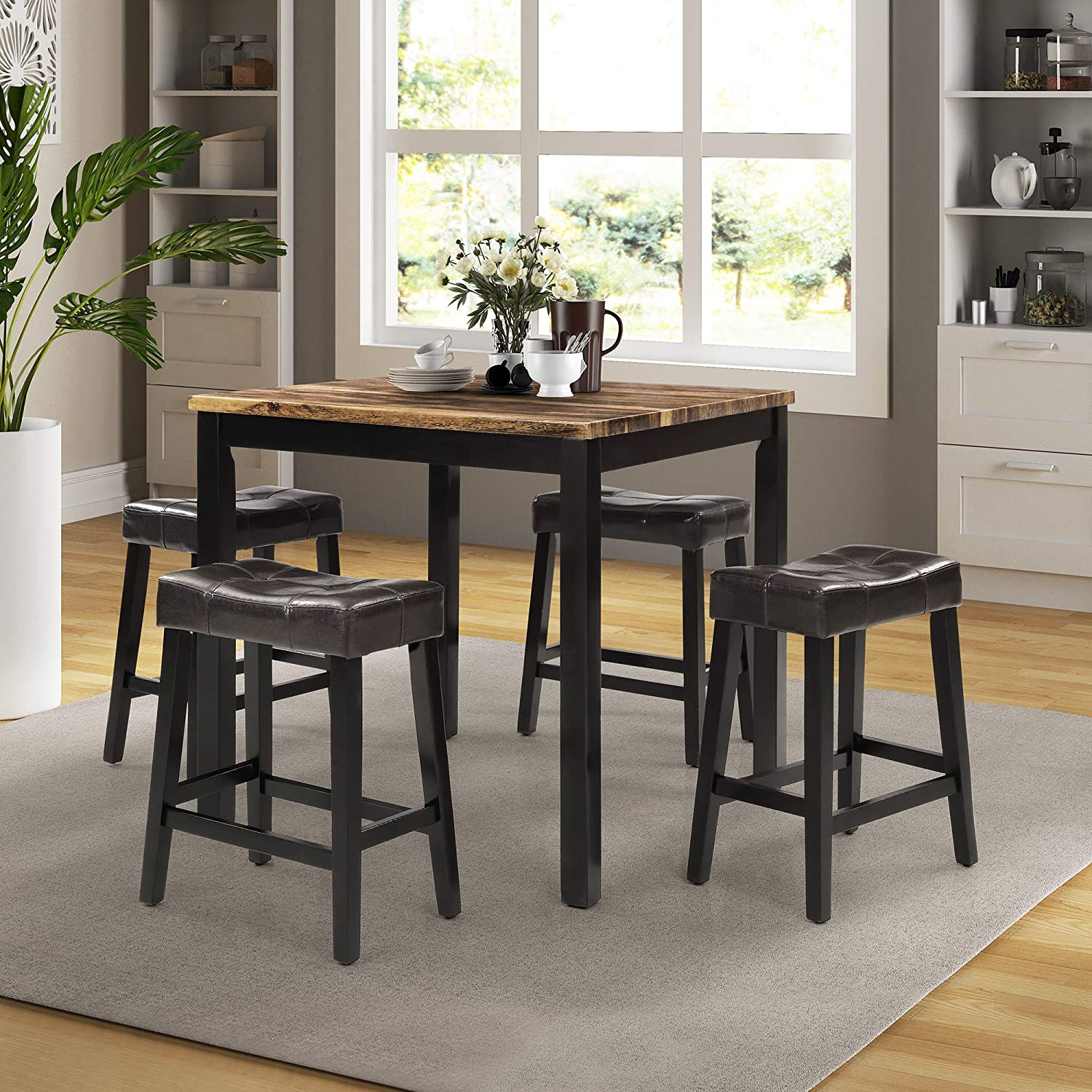 LOKESI Kitchen Table Set, 5 Pieces Faux Marble Top Counter Height Dining  Table Set with 4 Stools (Brown)
