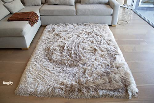 8×10 Feet Beige Cream Colors Two Tone Area Rug Carpet Rug Solid Soft Plush Pile Shag Shaggy Fuzzy Furry Modern Contemporary Decorative Designer Bedroom Living Room Hand Woven