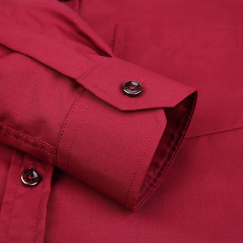 AOLIWEN Boy/'s Solid Long Sleeve Dress Shirt School Uniform Button Down Shirts