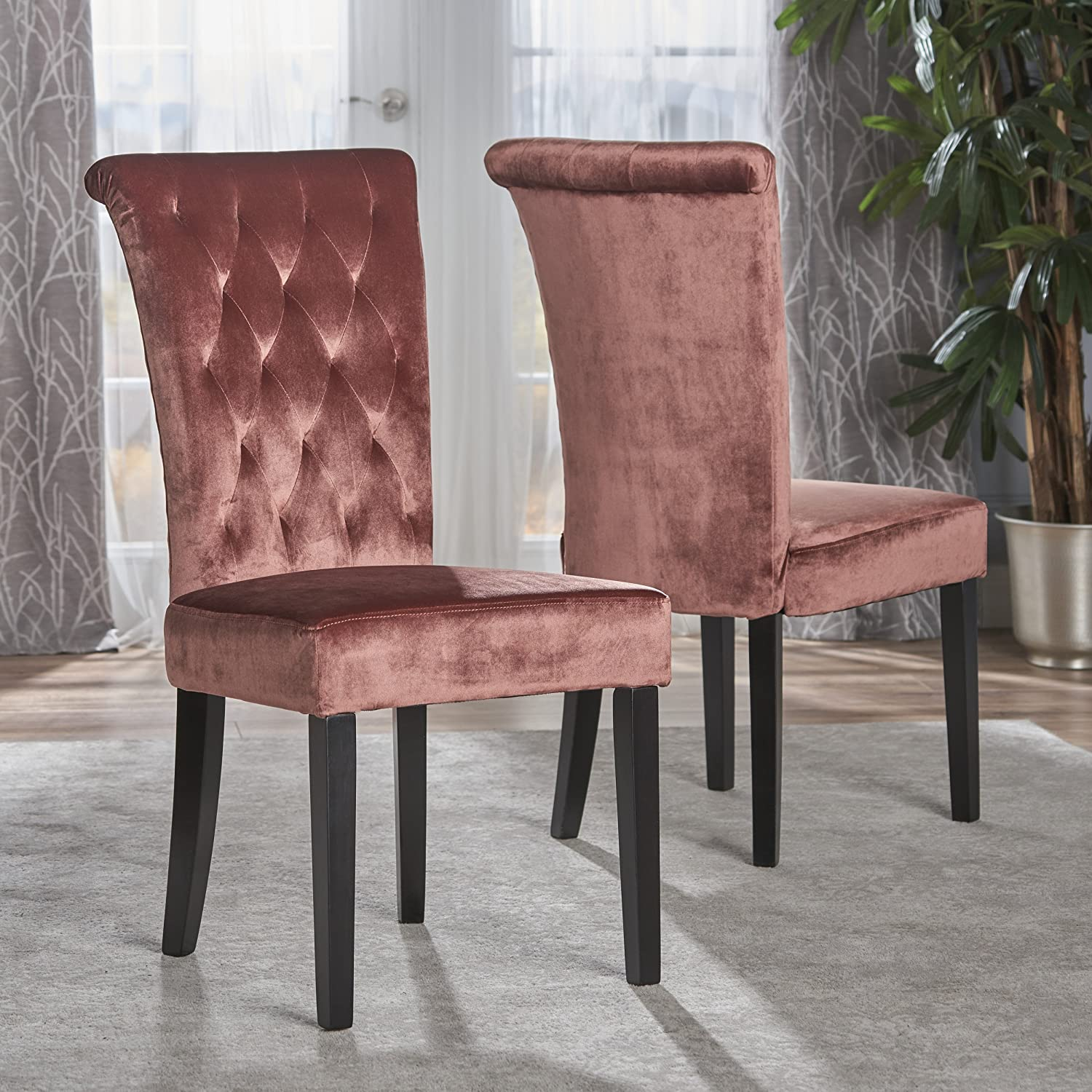 Christopher Knight Home 301780 Venetian Tufted New Velvet Dining Chair Blush Dark Brown