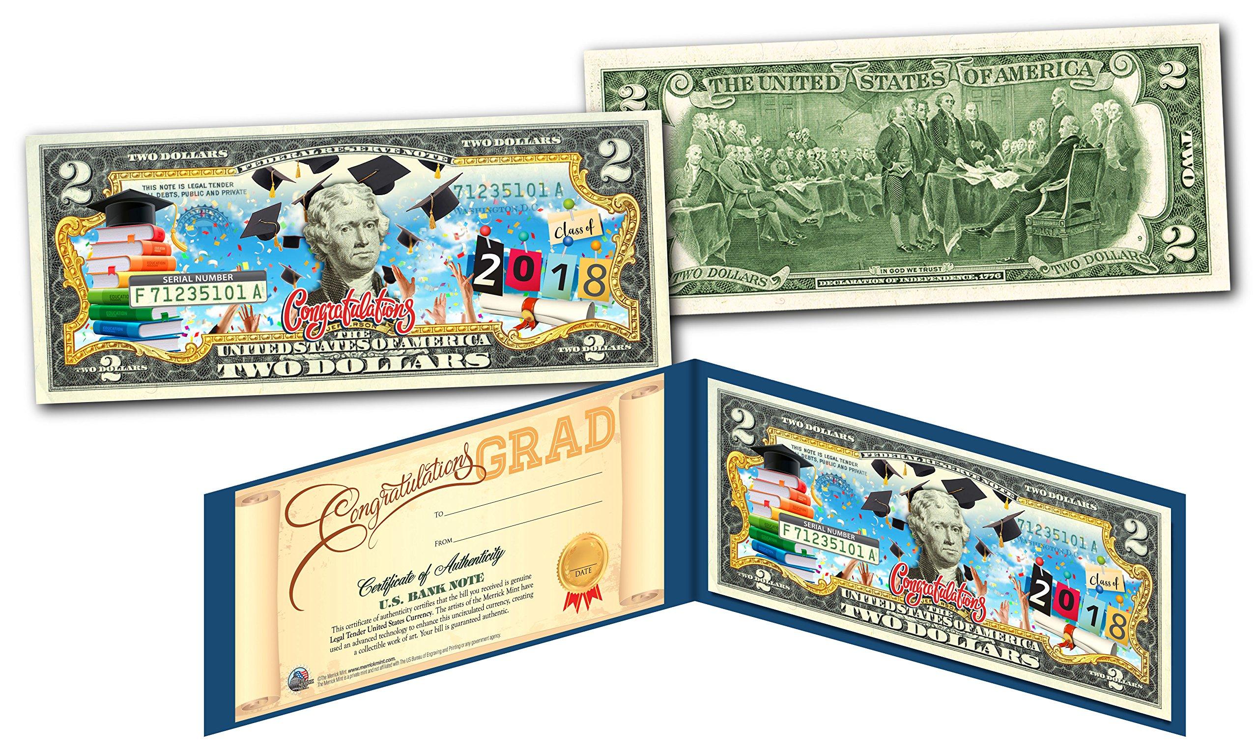 2018 HAPPY GRADUATION Genuine U.S. $2 Bill w/ Diploma Style Fill-In Certificate