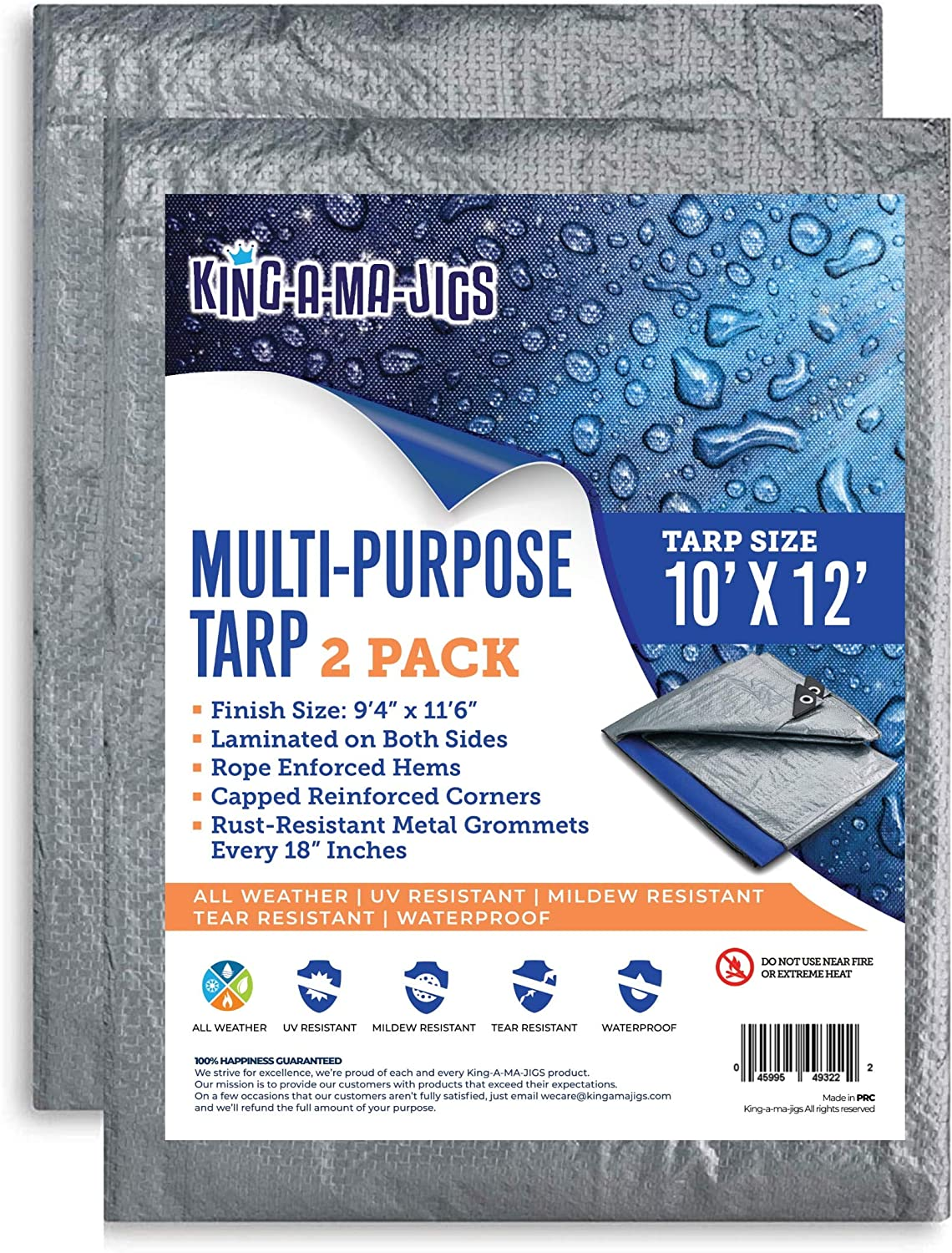 (2 Pack) 10x12 Waterproof Tarp - 5.5 Mil - All-Purpose Plastic Poly Tarp With Metal Grommets - Emergency Rain Shelter, Outdoor Cover and Camping Use - Blue and Silver (10 Foot. x 12 Foot)