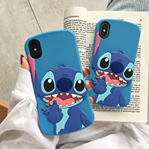 iPhone 6 / 6s Blue Stitch Phone Case Soft Silicone Slim Fit Cute Cartoon Lovely Fashion Cover,Cool Cases for Kids Boys Girls (Slim Stitch, iPhone 6/6s)