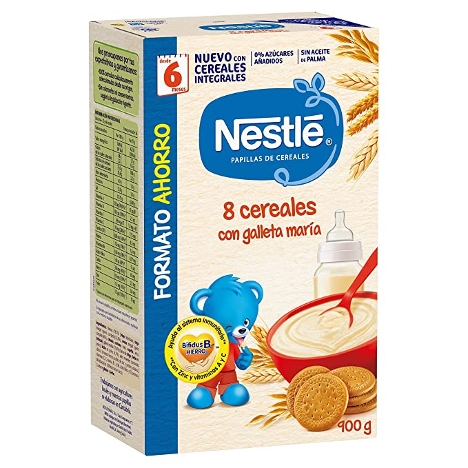Nestlé Papillas - 8 cereales con Galleta María instantánea, a ...