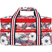 MIER Insulated Double Casserole Carrier Thermal Lunch Tote for Potluck Parties, Picnic, Beach, Fits 9 x 13 Inches…