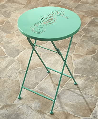 The Lakeside Collection Foldable Metal Icons Sea Creatures Outdoor Bistro Table