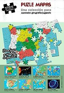 Incal Ediciones 8 puzles de 120 Piezas de 40 x 30 cm. Mapas de España, Europa, Mundo y Planetas. Puzzle geografia. Rompecabeza mapas: Amazon.es: Juguetes y juegos