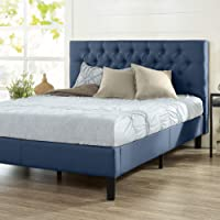 Zinus Misty Double Bed Frame | Upholstered Button Tufted Fabric Platform - Navy
