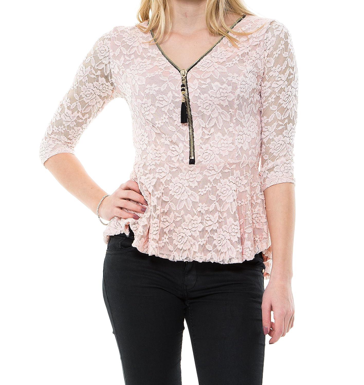 Sexy Damen Oberteil Vokuhila Shirt Bluse Anliegend elegant strech Party Top mit Schößchen Detail und Reißverschluss V-schnitt