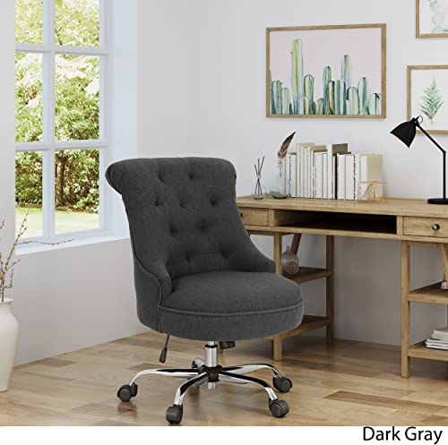 Christopher Knight Home Tyesha Desk Chair, Dark Gray Chrome