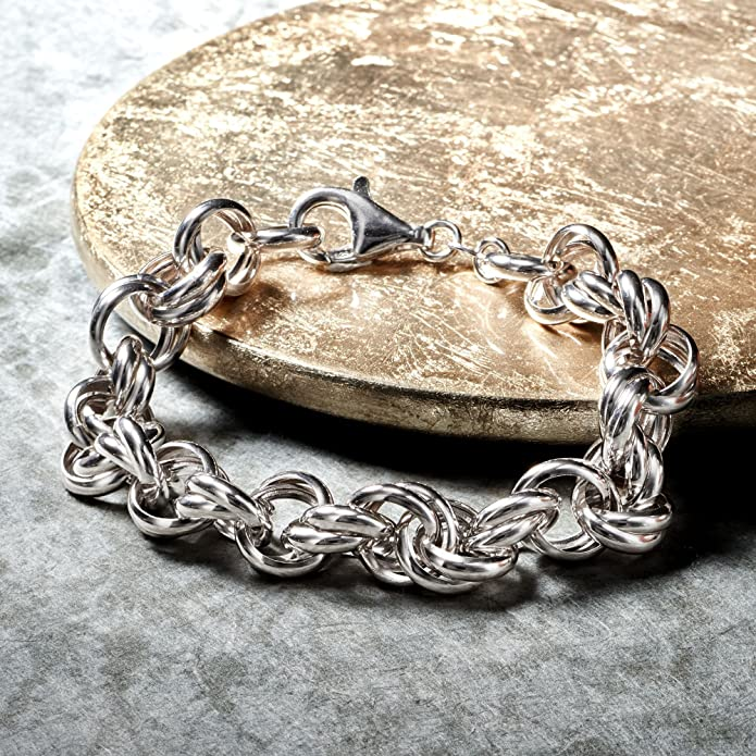 sterling silver rollo chain link bracelet life saver clasp