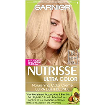 Garnier Nutrisse Ultra Color Nourishing Hair Color Creme, LB1 Ultra Light  Cool Blonde (Packaging
