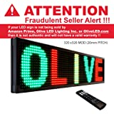 """Olive LED Signs 3 Color (RGY) 15"""" x 40"""" - Storefront Message Board, Programmable Scrolling Display - Industrial Grade Business Tools"""