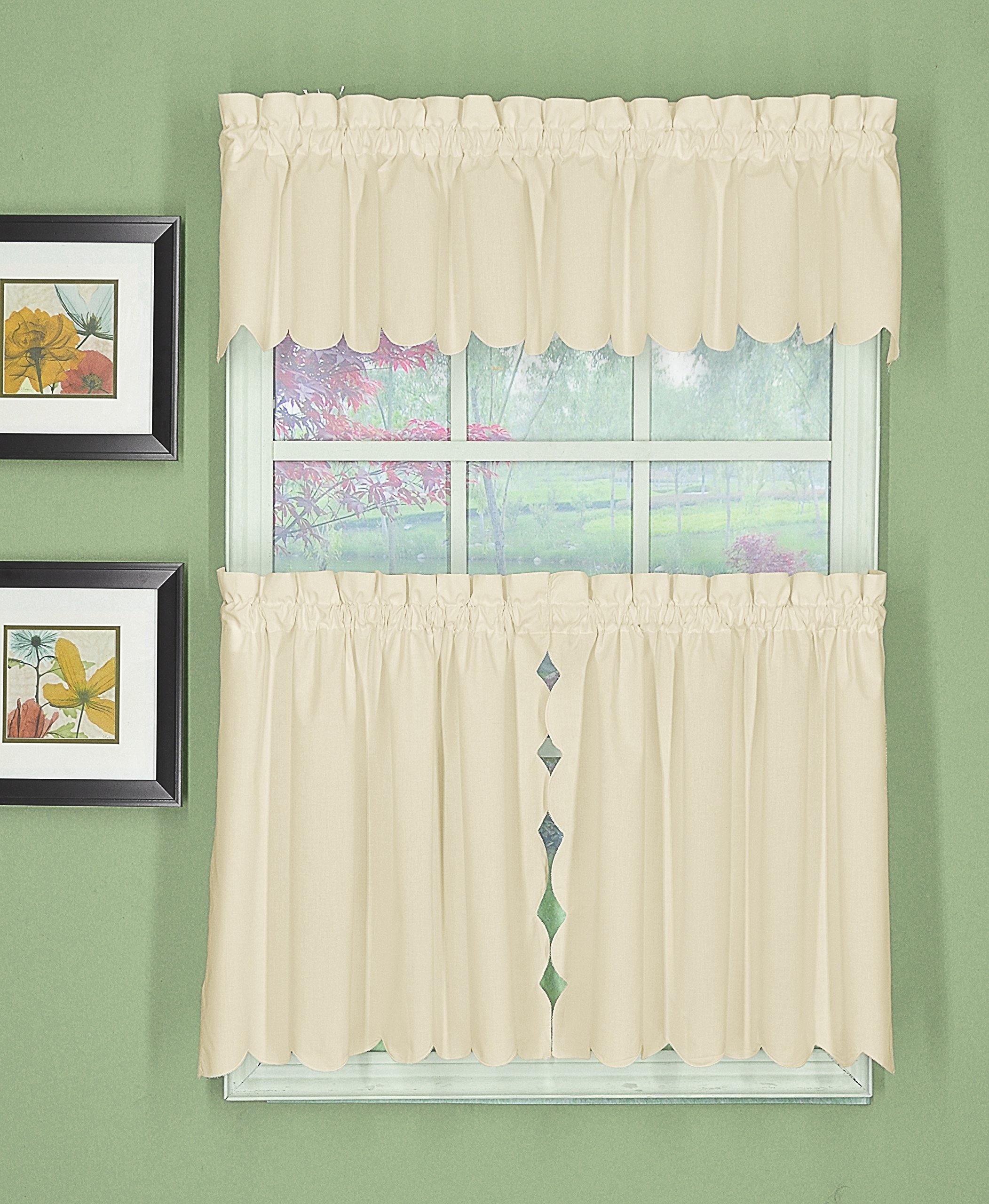 Today's Curtain CA2003K Orleans 30'' Tier Pair with Tiebacks Tambour Scallop Edge Curtain, Ecru, 60'' W x 30'' L/TB
