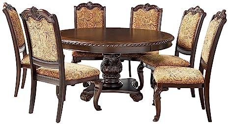 Pleasant Furniture Of America Ferrara 7 Piece Elegant Round Dining Table Set Brown Cherry Alphanode Cool Chair Designs And Ideas Alphanodeonline