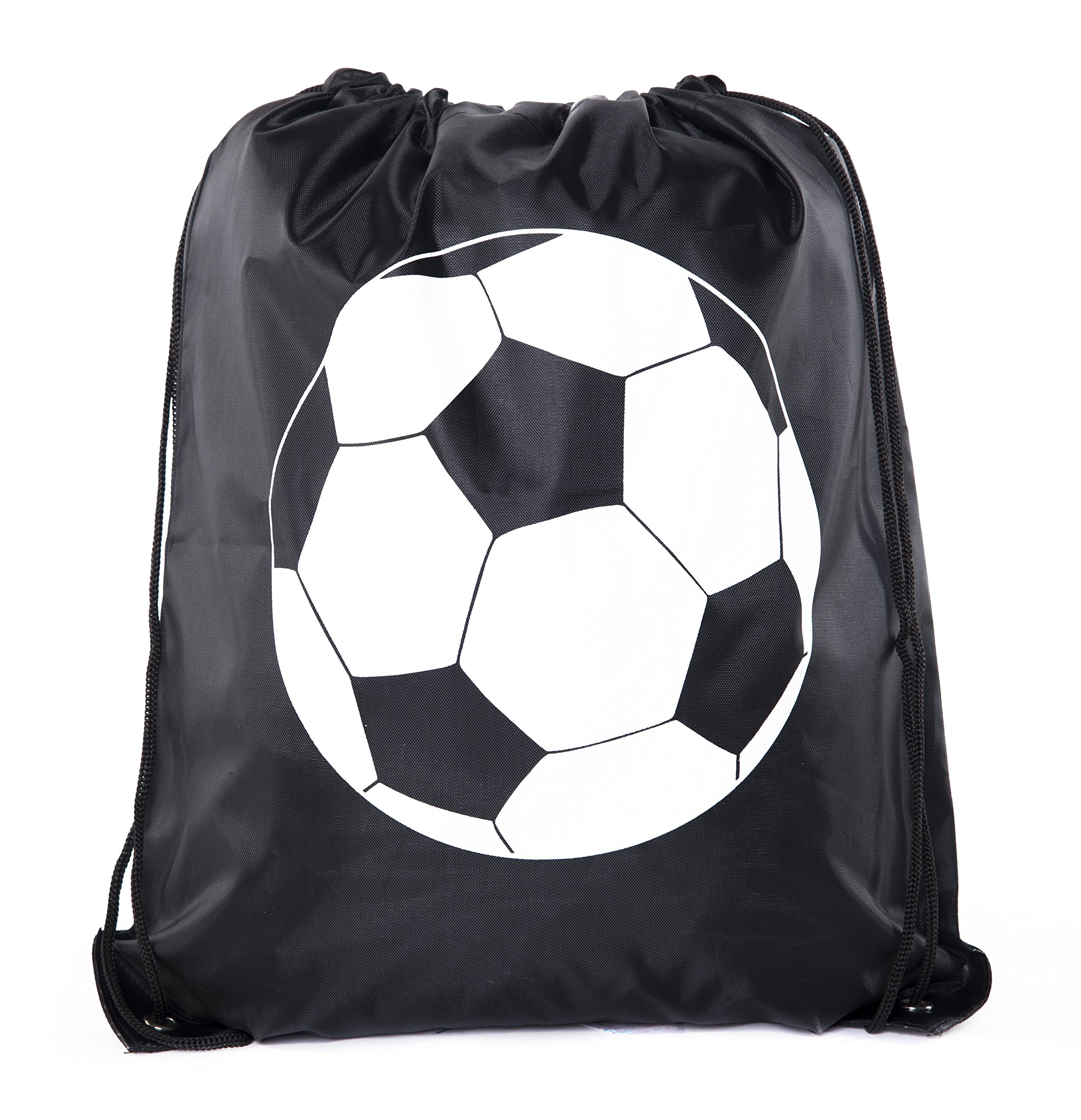 Goodie Bags for Kids | Drawstring Gift Bags with Logo for Bdays, Parties + More - 3PK Black CA2500PTY Soccer