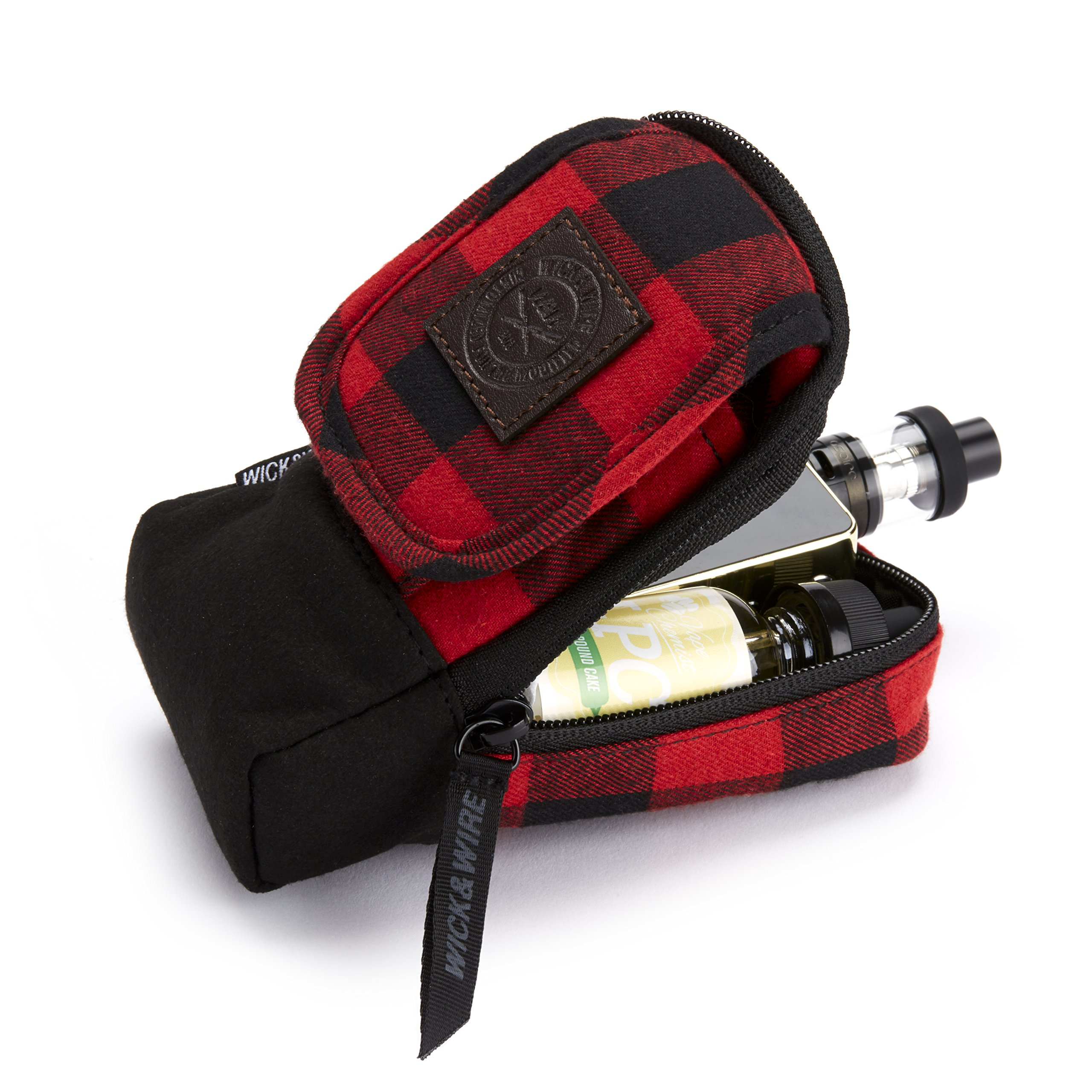 Vape Carrying Case for Travels - Secure, Organized, Premium Vape Bag - Fits Medium Mechanical Box Mods, e-Juice, Battery, Tank Holder & Accessories - Wick and Wire (Stash Red Plaid)