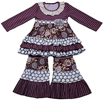 84bf62e9ac Yawoo Haan Kids Girls Ruffle Dress Pants Party Clothing Set Boutique  Outfits Purple 2T