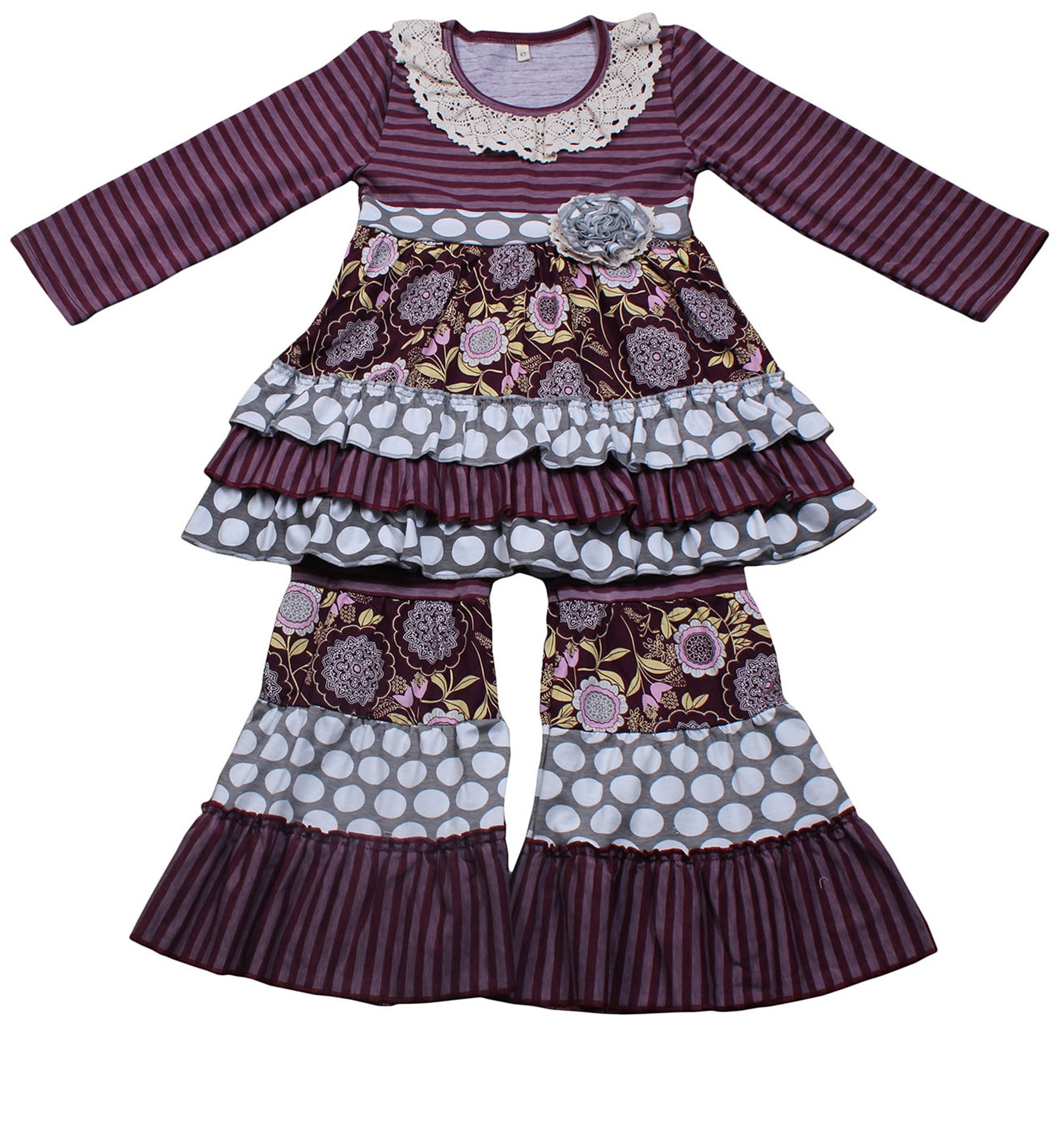 Yawoo Haan Kids Girls Ruffle Dress Pants Party Clothing Set Boutique Outfits Purple 7-8T