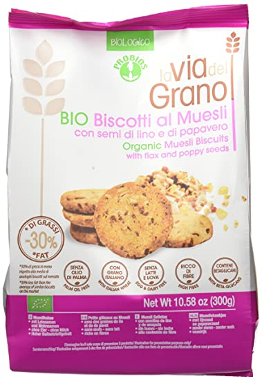 Probios La Via Del Grano Galletas con Muesli - 10 paquetes: Amazon ...