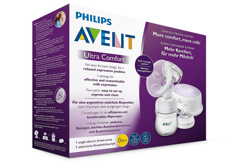 inkl wei/ß Philips Avent SCF332//31 Elektrische Komfort-Einzelmilchpumpe Naturnah-Flasche