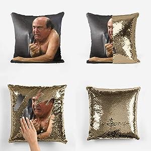 43LenaJon It's Always Sunny in Philadelphia Danny Frank Reynolds Couch Scene Sequin Pillowcase Pillow Cover