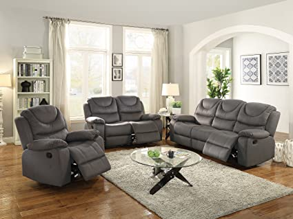 Amazon.com: Modern Contemporary Living Room 3pc Motion Sofa ...