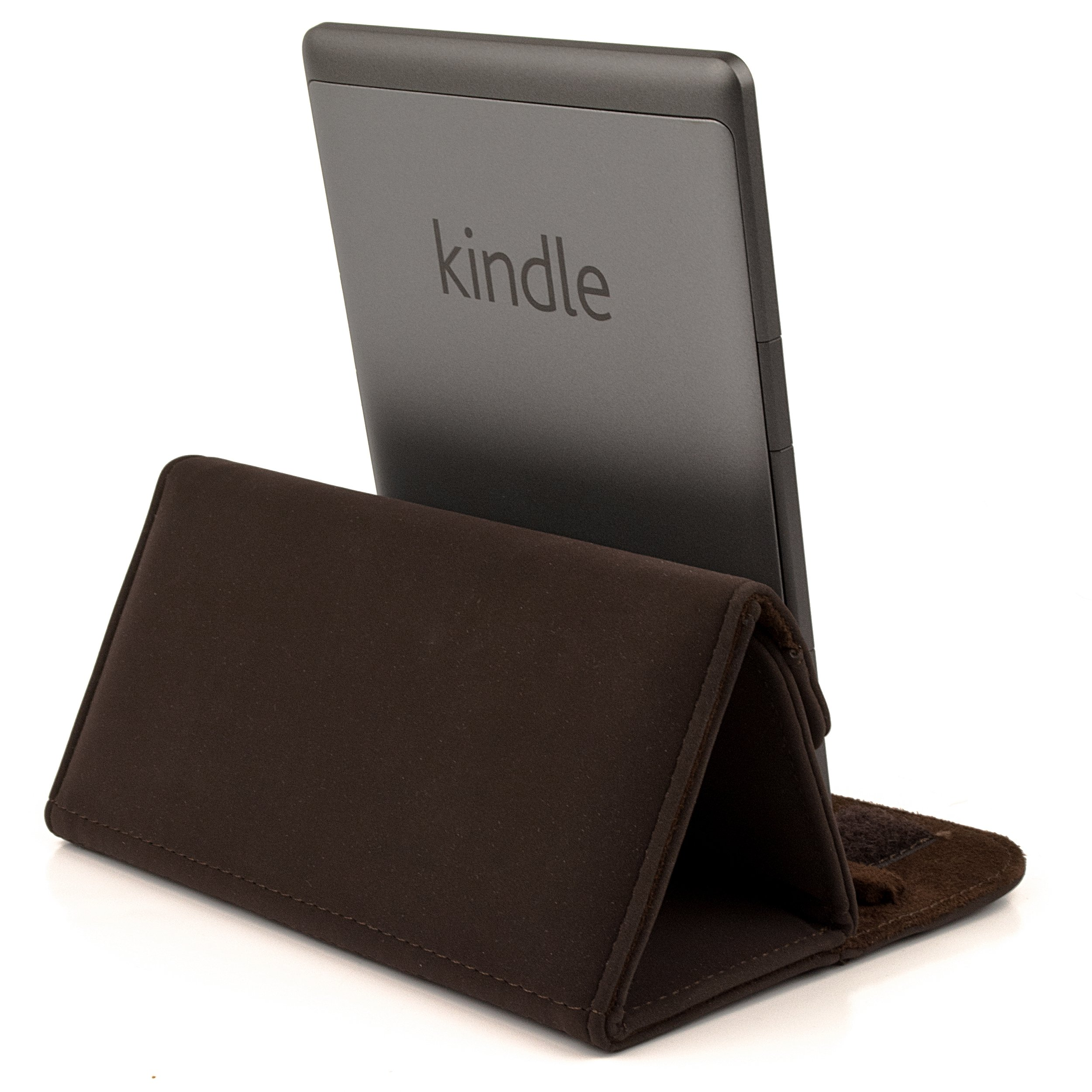 Smart Glove - Brown Premium Durable Leather Cover Sleeve Carrying Case can easily be converted to a stand For Amazon Kindle Touch (Wi-Fi 6'' E Ink Display)