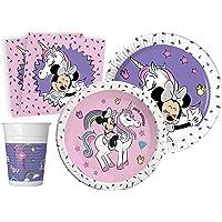 Ciao- Kit Mesa Fiesta Party Disney Minnie Unicorn para 8 (44 Piezas Ø23cm, 8 Platos Ø20cm, 8 Vasos, 20 servilletas…