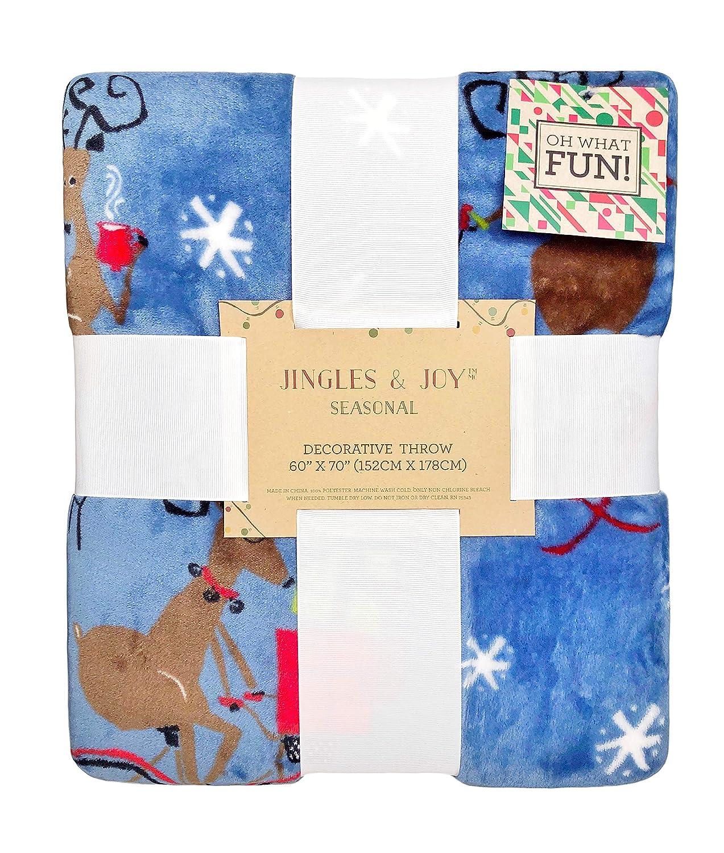 Jingle and Joyブルートナカイ – Riding Bike and skiings Decorative Plush Throw Blanket B078BSCL72