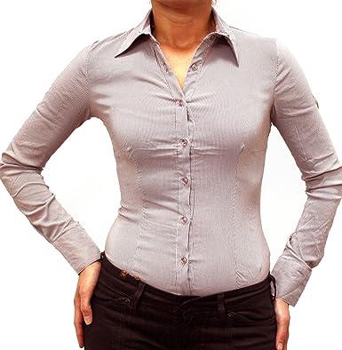 22029b8b39 7273 EXTRA ME Damen Stretch Bodys Blusen Bodybluse Blusenbody Farbe Braun  Konfektionsgröße 42 Internationale Größe XL braun XL/42: Amazon.de:  Bekleidung