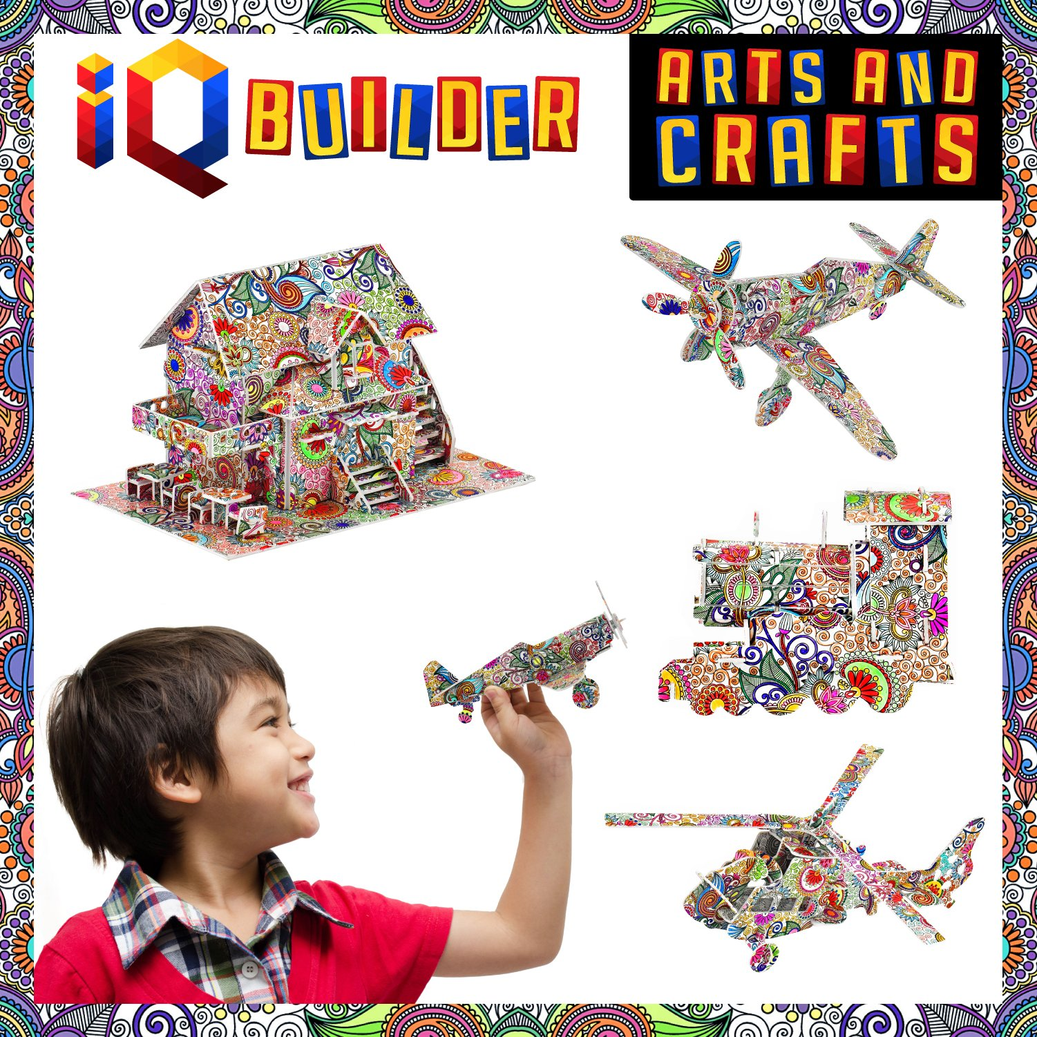 IQ BUILDER FUN CREATIVE DIY ARTS AND CRAFTS KIT   BEST TOY GIFT FOR GIRLS AND BOYS AGE 8 9 10 11 12 YEAR OLD   EDUCATIONAL ART BUILDING PAINTING COLORING 3D PUZZLE PROJECT SET FOR KIDS AND ADULTS