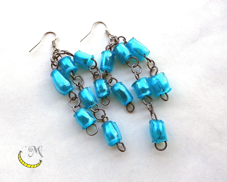 Pendientes de perlas de plastico reciclado - perlas hechas a mano - azul - regalo original: Amazon.es: Handmade