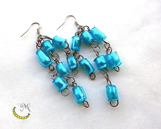 Pendientes de perlas de plastico reciclado - perlas hechas a mano - azul - regalo original