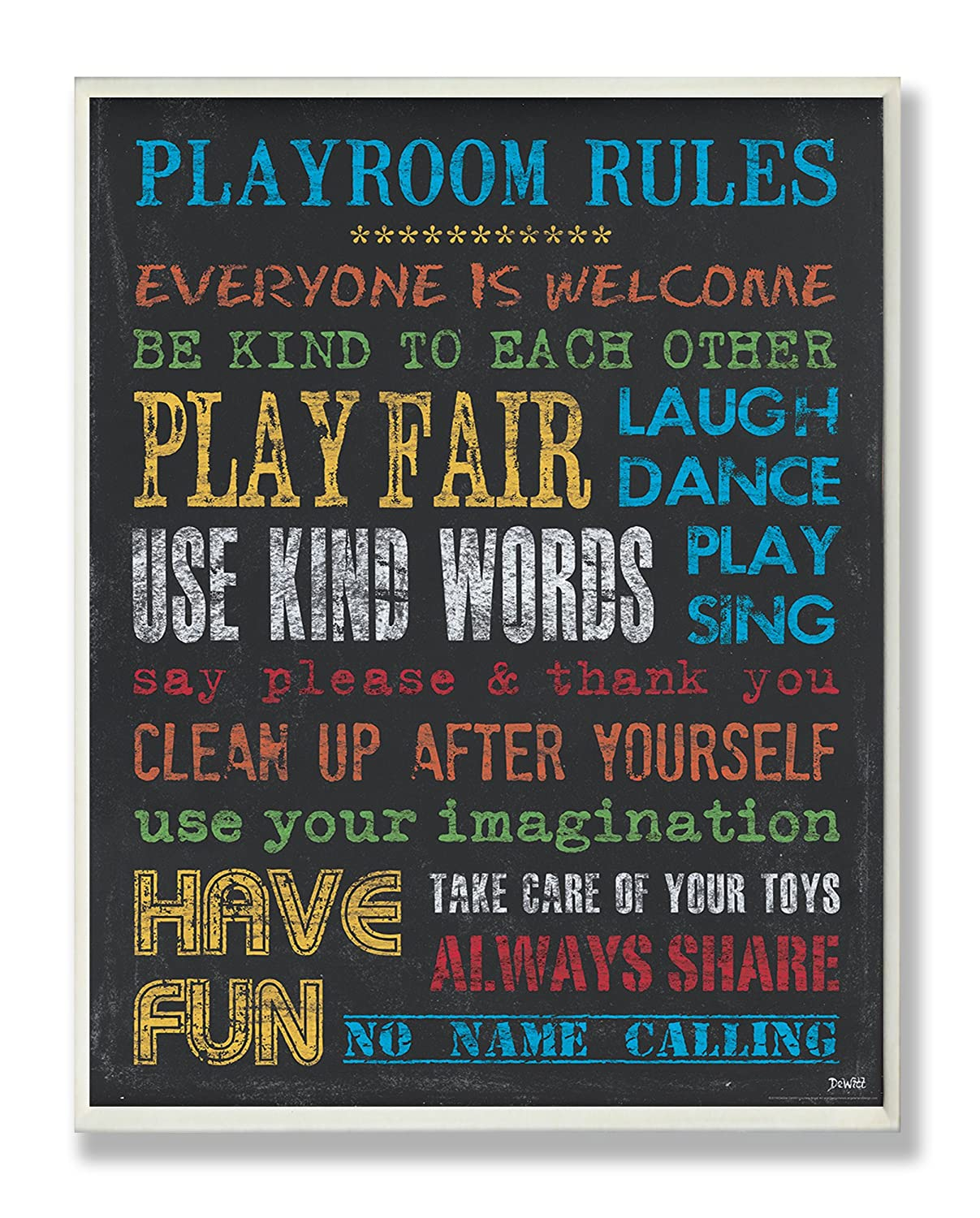The Kids Room by Stupell Rainbow Chalkboard Playroom Rules Rectangle Wall Plaque, 11 x 0.5 x 15, Proudly Made in USA brp-1615