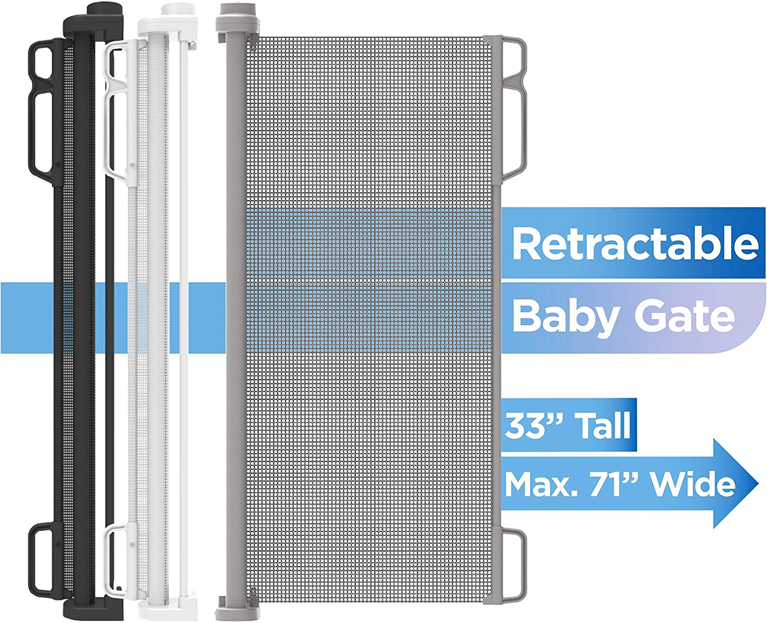 Extends to 74 Wide Perma Indoor//Outdoor Ultimate Retractable Baby Gate 39 Tall Black
