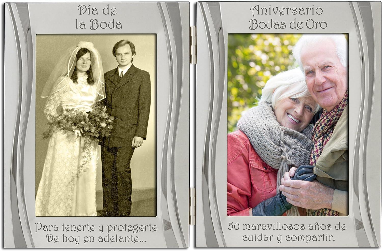 50 aniversario de bodas de oro plateado, con dorso de terciopelo, marco de marco de fotos doble, plata mate y brillante, de pie y con estructura articulada. Regalo, presente del 50 aniversario.