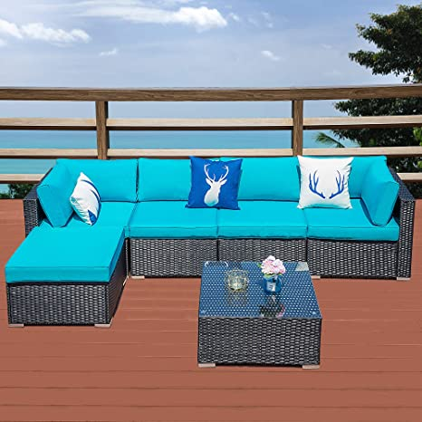 Astonishing Outdoor Patio Sectional Sofa 6 Piece Rattan Wicker Furniture Set With Blue Cushion 79W X 83L Andrewgaddart Wooden Chair Designs For Living Room Andrewgaddartcom
