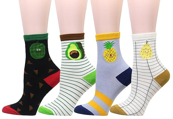 Cansok - Calcetines - para mujer multicolor #1 Watermelon Avocado Pineapple Pear Talla única: Amazon.es: Ropa y accesorios